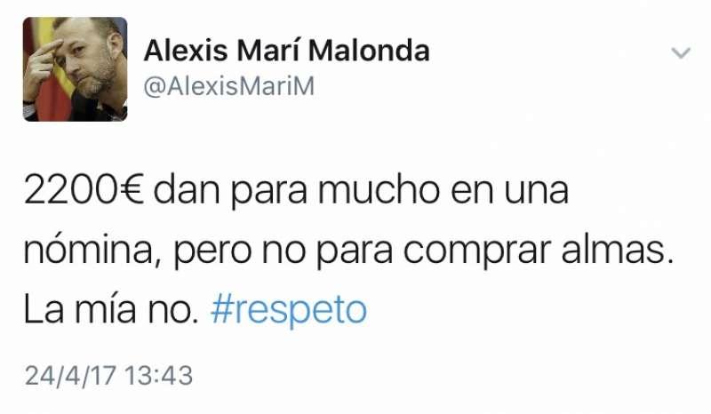 Respuesta de Alexis Marí en su perfil de Twitter.