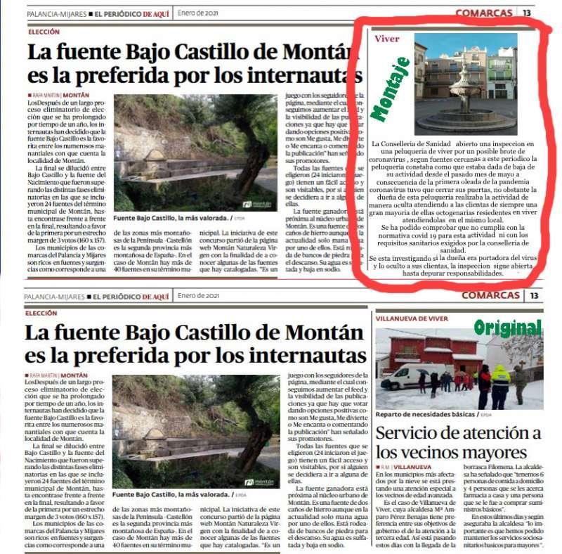 La página del periódico con el falso montaje (arriba) y el original publicado (abajo)