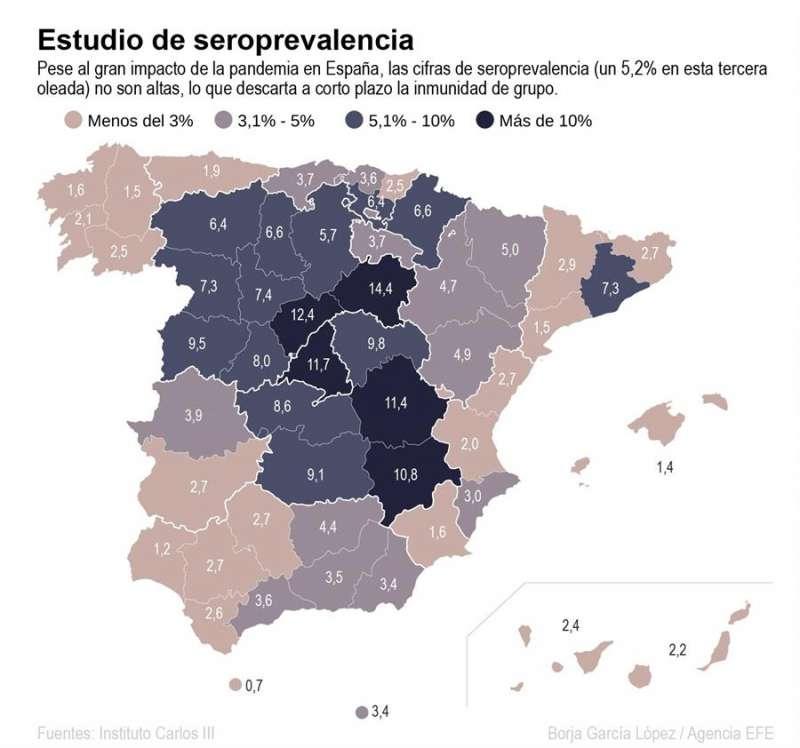 Mapa que muestra los resultados del estudio de seroprevalencia en España. EFE