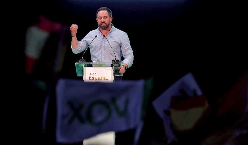 El presidente de Vox, Santiago Abascal, en un mitin. EFE/Archivo/Manuel Bruque