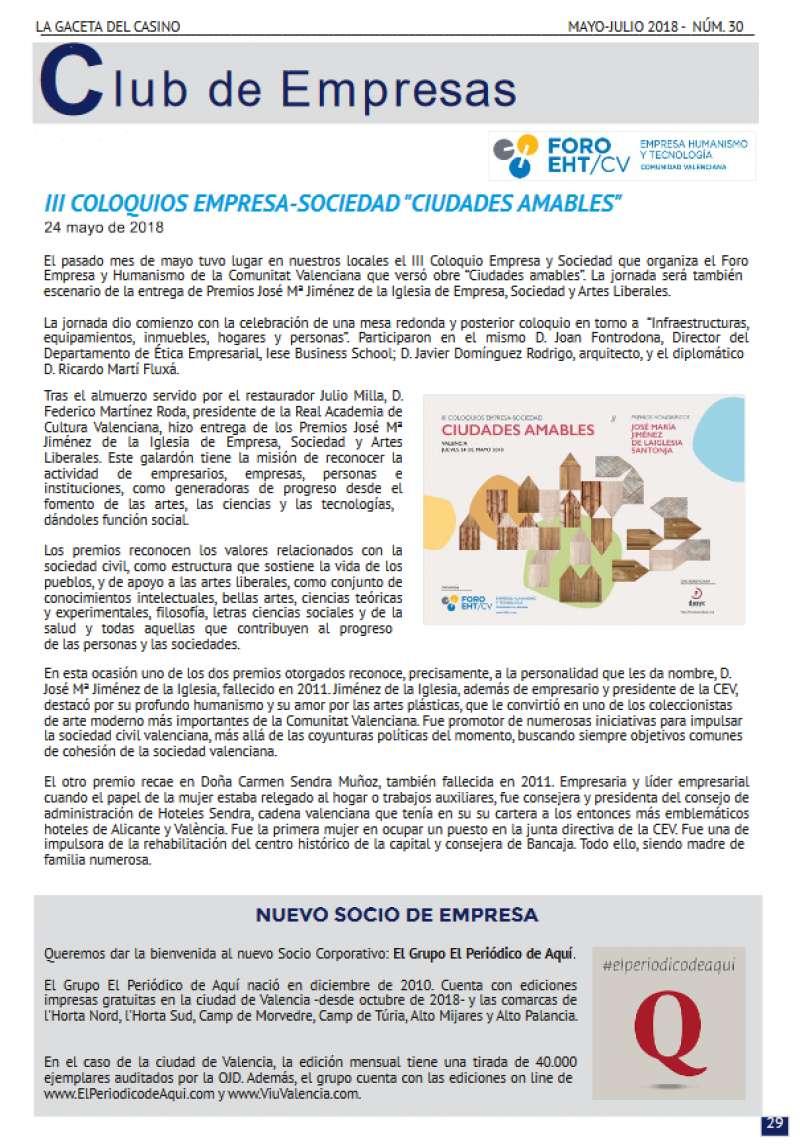 Información recogida en la última revista La Gaceta del Casino.