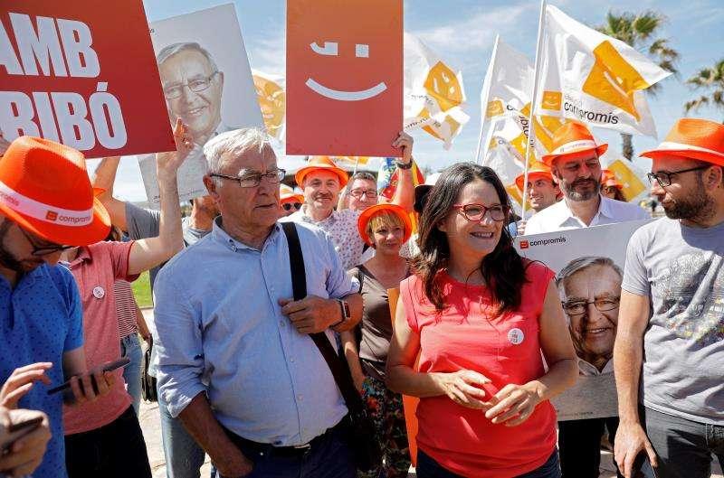 El alcalde de València y candidato a la reelección por Compromís, Joan Ribó, durante una