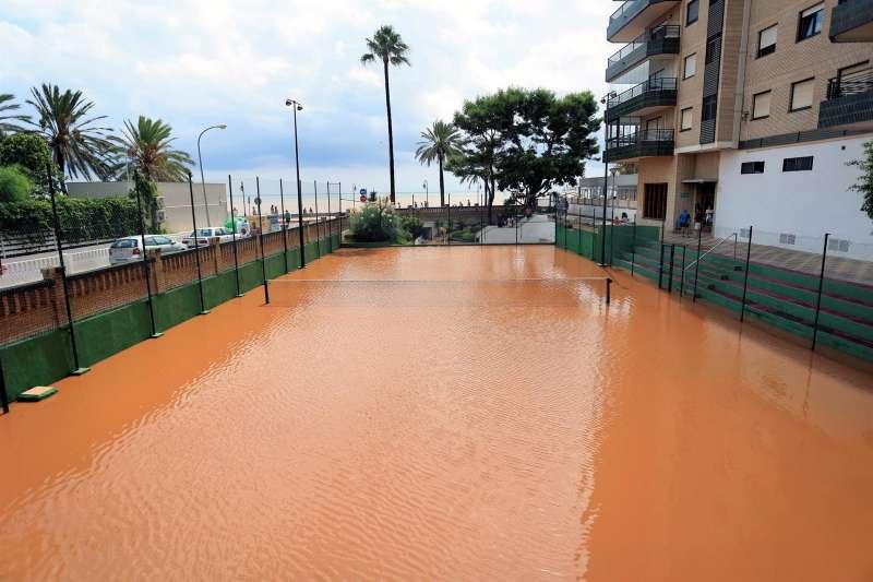 Inundación en Benicàssim causada por las lluvias de la semana pasada.