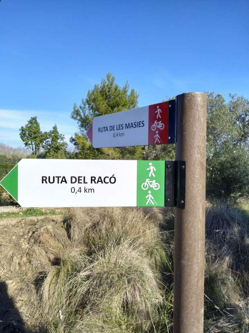 Indicacions en la ruta verda de Manises