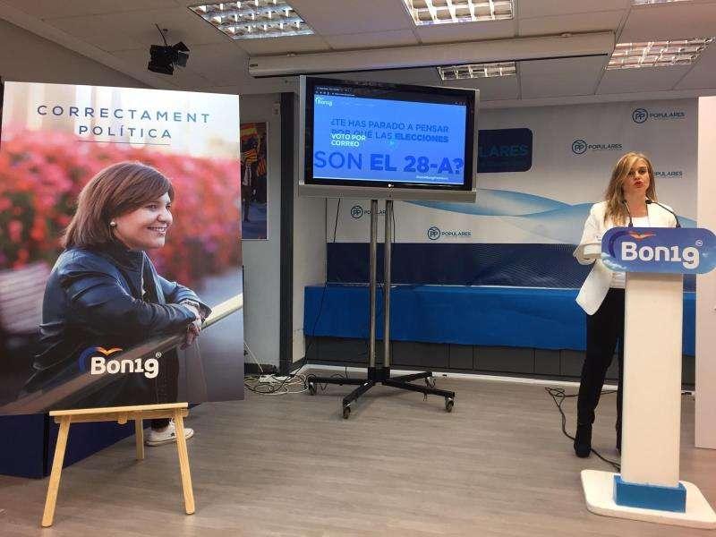La secretaria general del PPCV, Eva Ortiz, ha presentado la campaña para las próximas elecciones del 28 de abril