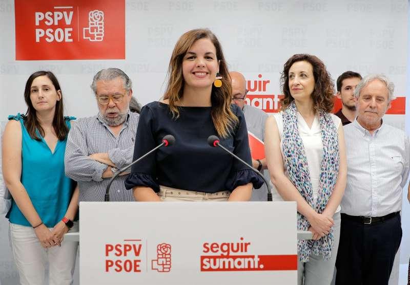 La vicealcaldesa del Ayuntamiento de Valéncia, Sandra Gómez , durante la rueda una prensa en la sede de su partido. EFE/Archivo
