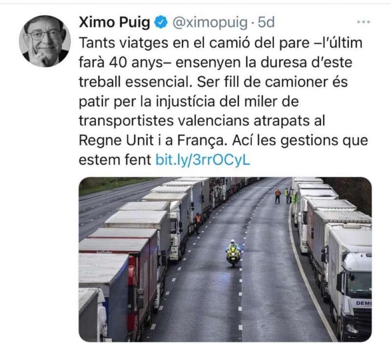 Imagen que los transportistas están utilizando para pedirle comprensión a Ximo Puig.