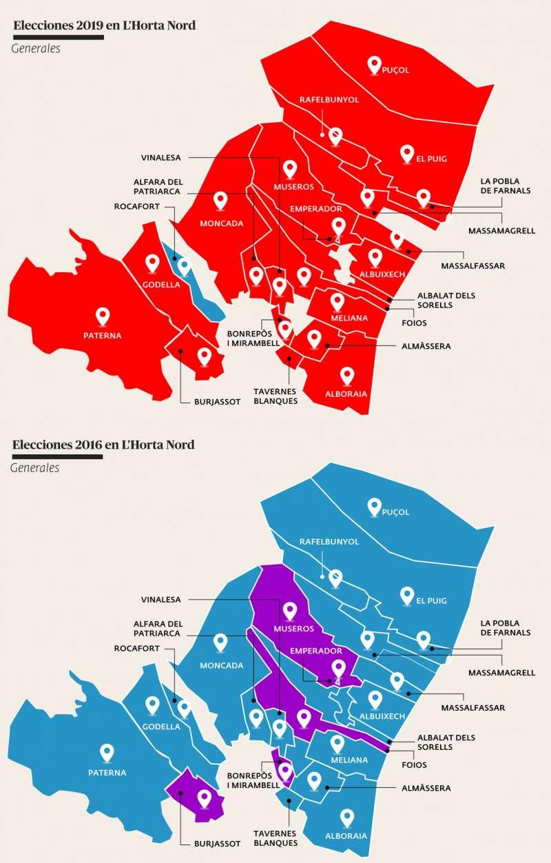 Mapa de los resultados en l