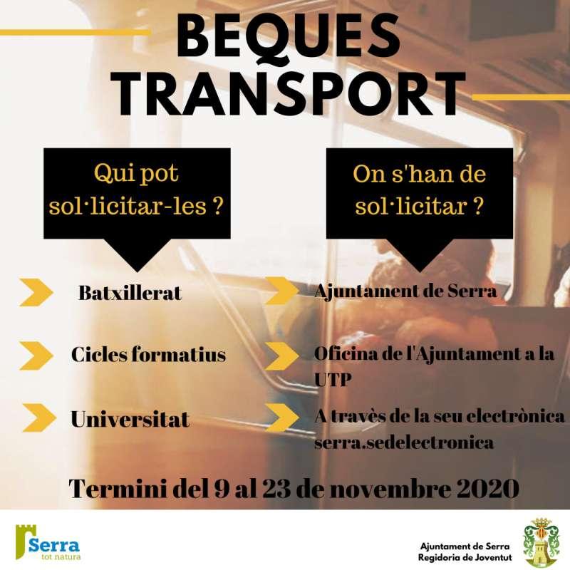 Cartell sobre les beques de transport. / EPDA