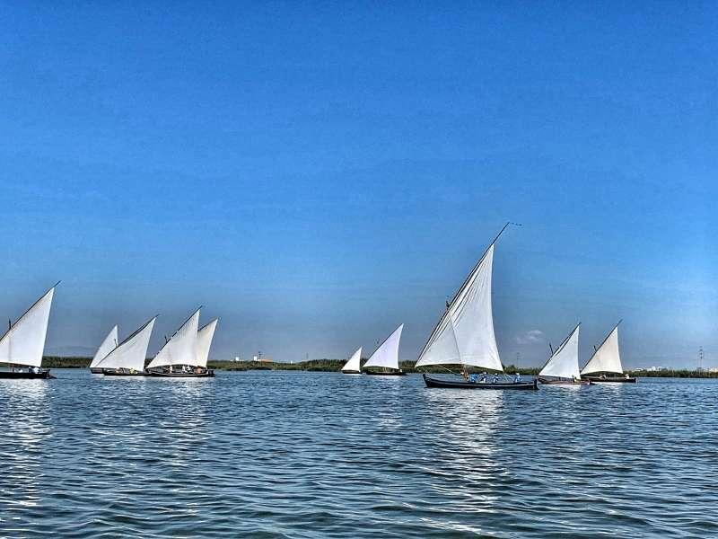 Imagen de las embarcaciones durante la competición. EPDA