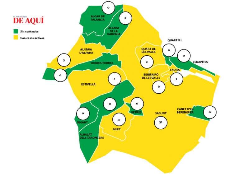 Mapa actualizado con los datos de coronavirus. / EPDA