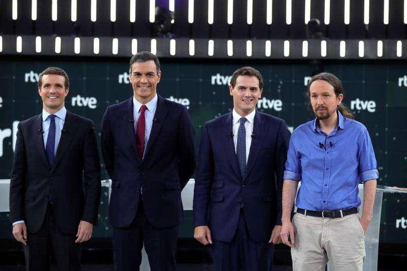 Los principales candidatos a la Presidencia del Gobierno en el Debate de TVE. EFE