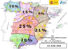 Mapa de España donde se concentran los mayores desplazamientos. FOTO DGT