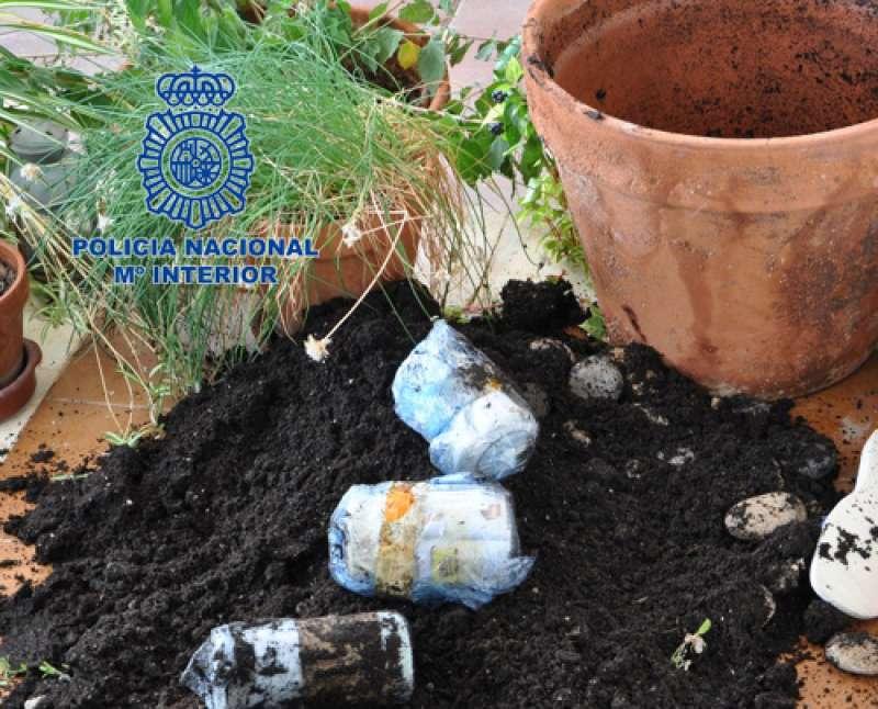 Parte del dinero recuperado estaba oculto en tres paquetes en la tierra de una maceta en la terraza de la casa de la ahora detenida.