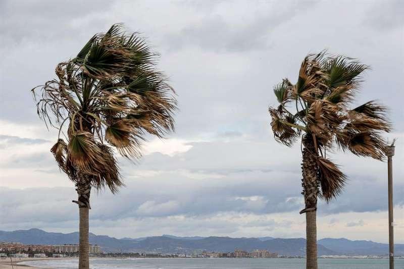 Imagen de la playa de la Malvarrosa de València en un día ventoso. EFE/ Juan Carlos Cárdenas