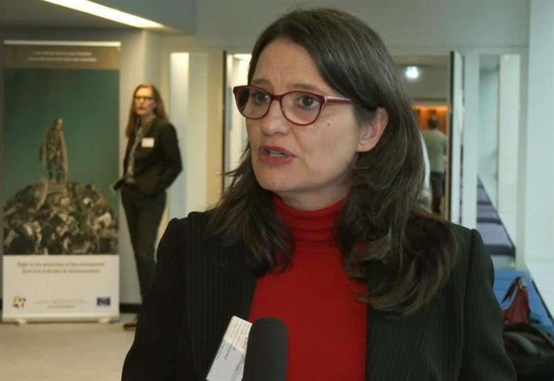 Mónica Oltra, durante su participación en la conferencia del Consejo de Europa. EFE
