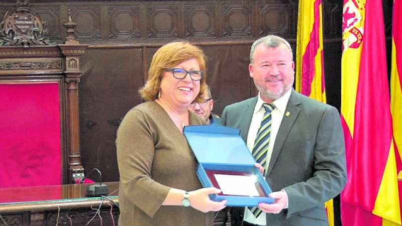Gloria Calero en el homenaje a los alcaldes de la democracia de Sagunt. EPDA