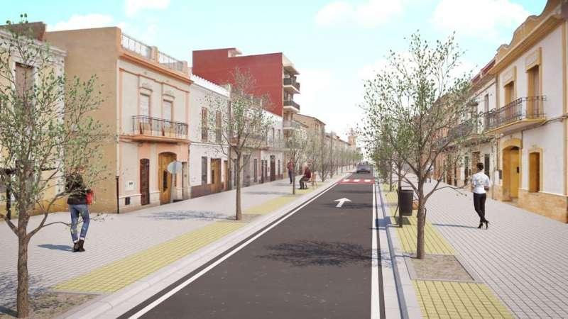 Simulació de com quedarà el carrer Major. EPDA
