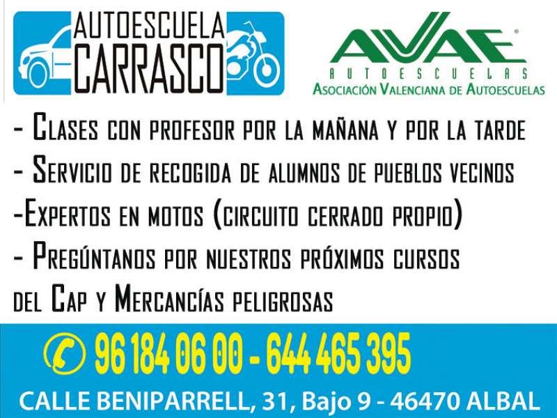 Anuncio de Autoescuela Carrasco de Albal. EPDA