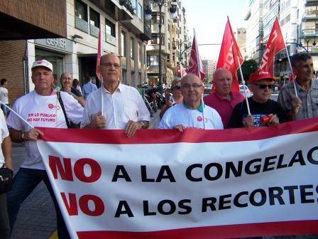 Pensionistas y Jubilados de UGT-PV y CC OO-PV . Foto EPDA