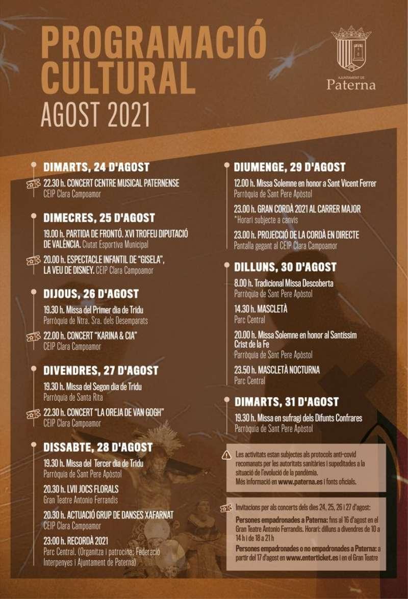Programación cultural para agosto en Paterna./EPDA
