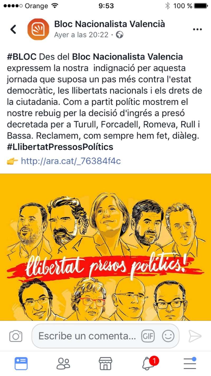 Comunicado escrito en el Facebook de Bloc Nacionalista Valencià.