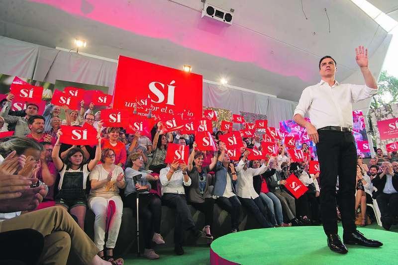 Pedro Sánchez en un mitin en la Comunitat Valenciana. FOTO EPDA
