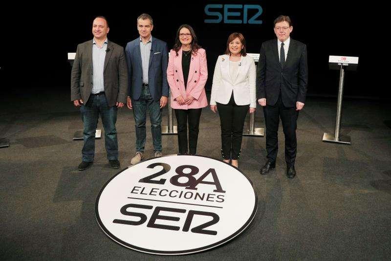 Los candidatos de los diversos partidos en la Cadena SER