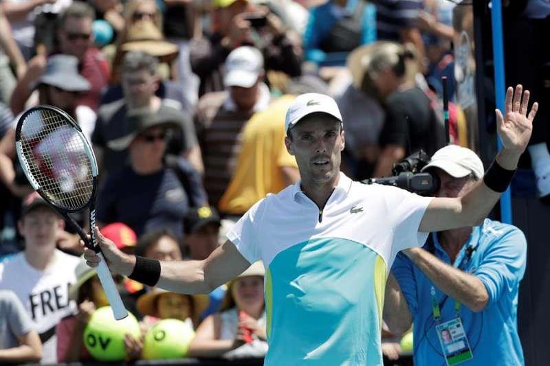 El tenista castellonense Roberto Bautista Agut celebra su triunfo ante feliciano López. EFE/LYNN BO BO