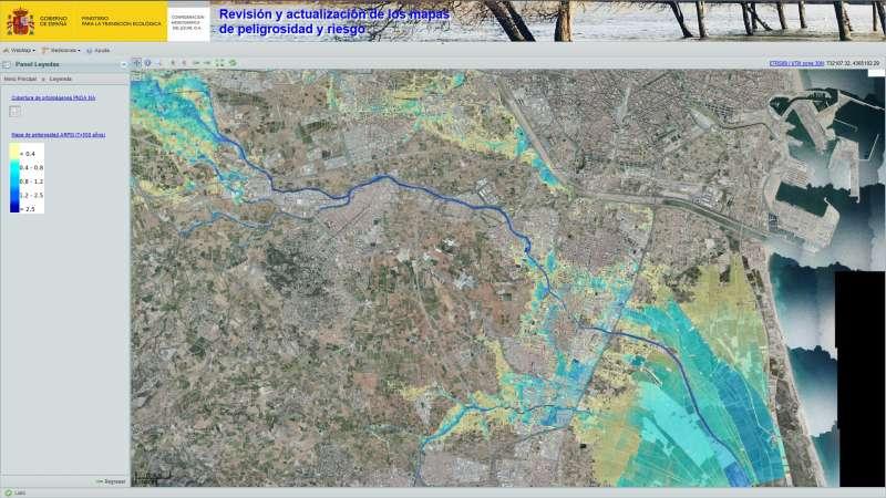 Mapa de las zonas más inundables después. EPDA