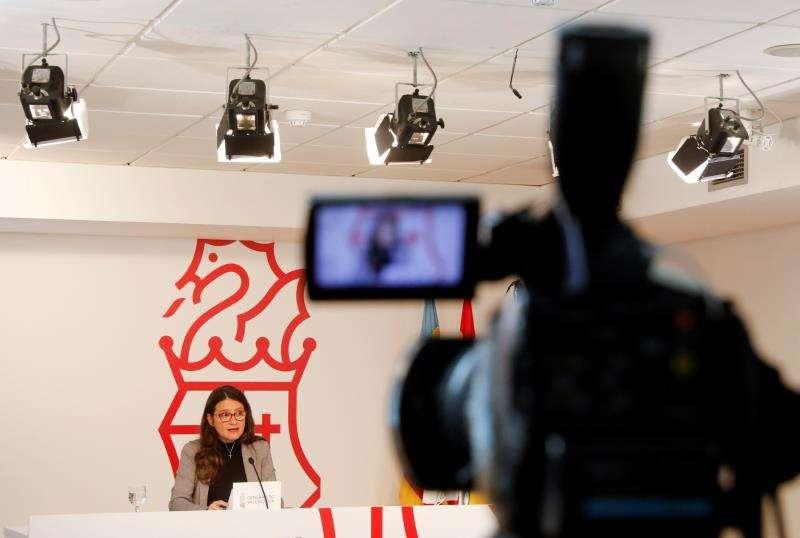 La vicepresidenta y portavoz de la Generalitat, Mónica Oltra, durante una rueda de prensa posterior al pleno del Consell. EFE/Archivo