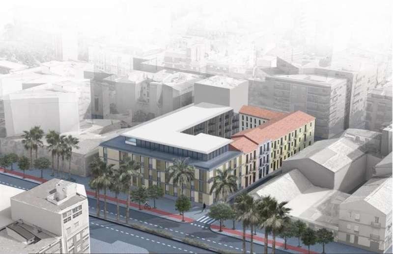 Simulación del hotel-estudio universitario de València proyectado, en una imagen facilitada por sus impulsores.