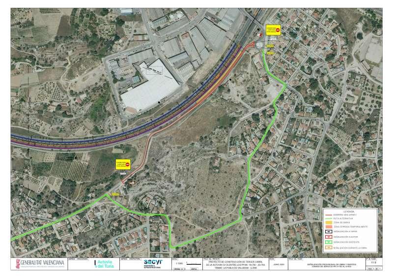 Desvío provisional marcado en el mapa. / EPDA