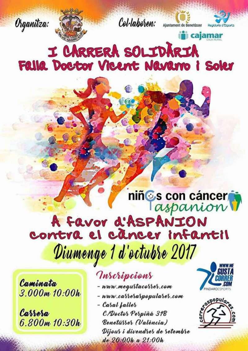 Cartel informativo de la carrera solidaria de Benetússer. EPDA