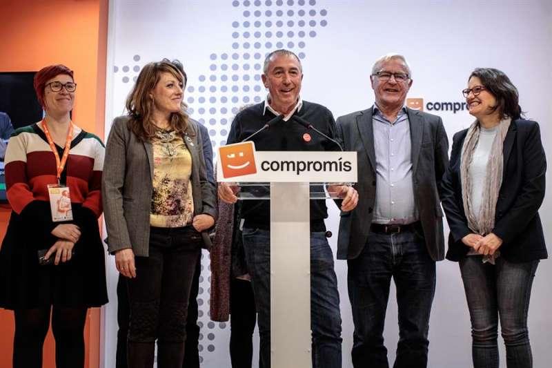 El cabeza de lista de Compromís al Congreso por València, Joan Baldoví (c) comparece tras el resultado de la elecciones generales. EFE/Biel Aliño