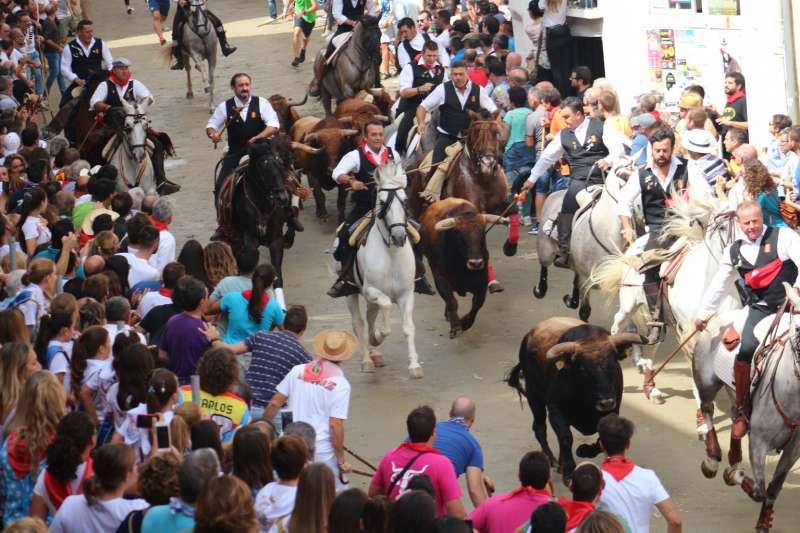 Última entrada de toros y caballos