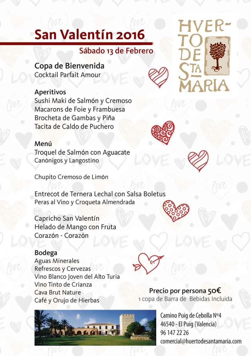 Menú especial por San Valentín del Huerto de Santa María. FOTO EPDA