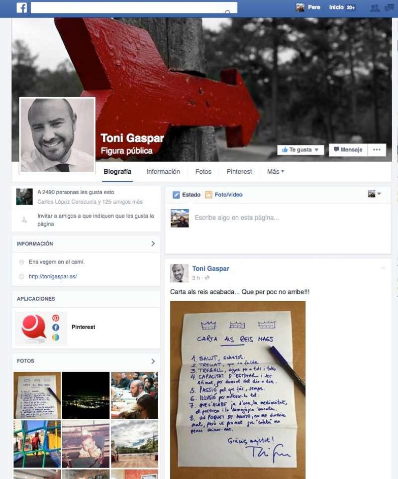 Muro de Facebook del vicepresidente de la Diputación.