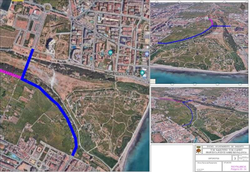 Planos del puente entre Port de Sagunt y Canet. EPDA