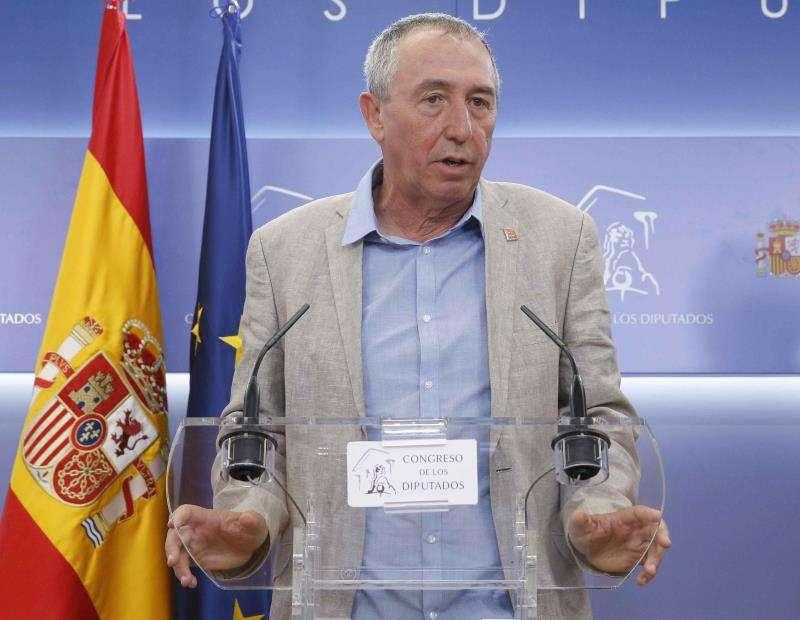 El diputado de Compromís, Joan Baldoví, durante la rueda de prensa. EFE