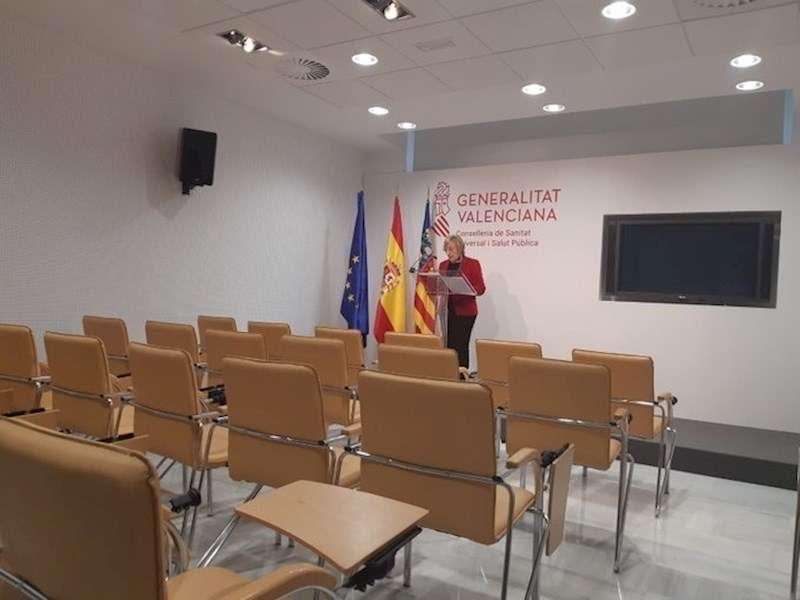 La consellera de Sanidad, Ana Barceló, en la rueda de prensa ofrecida hoy, en una imagen de la Generalitat.