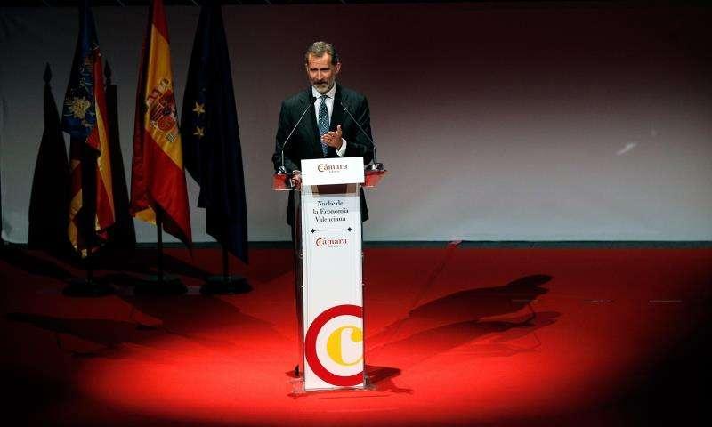 El Rey Felipe durante su intervención en la Noche de la Economía Valenciana