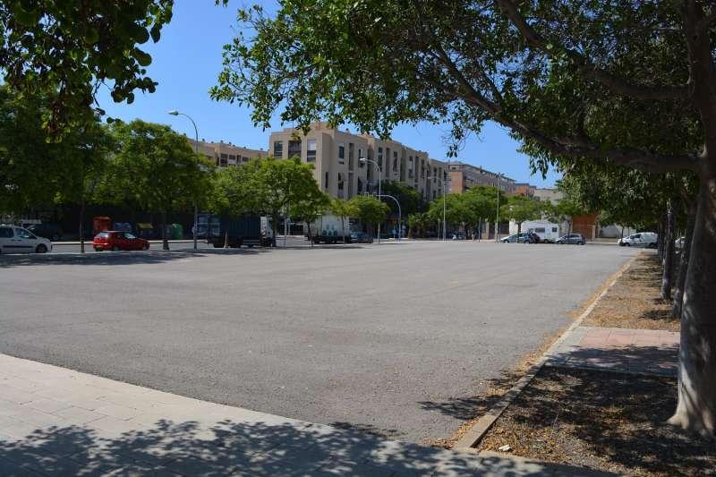 Parcela cedida por el Ayuntamiento para que la Generalitat construya el Centro de Salud de Garbinet y la fila de árboles en cuestión/EPDA