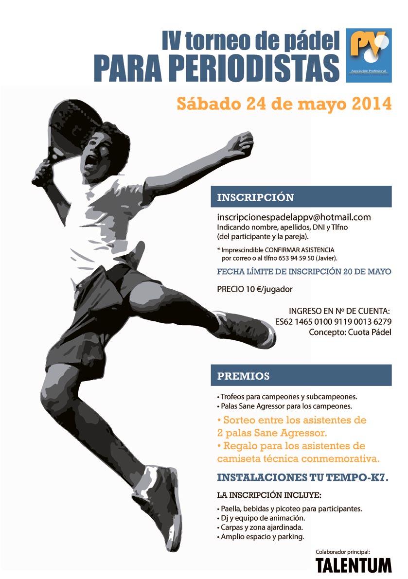 Cartel de la IV edición del torneo de pádel para periodistas.
