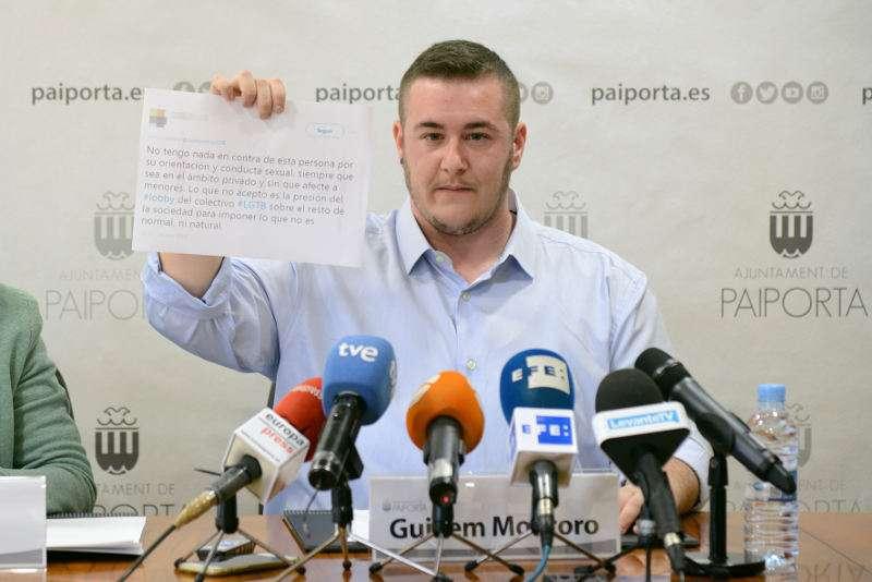 Guillem Montoro, nou regidor de Paiporta, en la seua presentació. EPDA