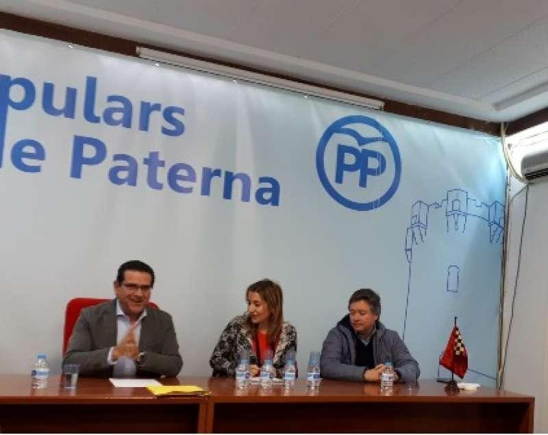 Bellver, Villajos y Santamaría en la rueda de prensa en Paterna. EPDA