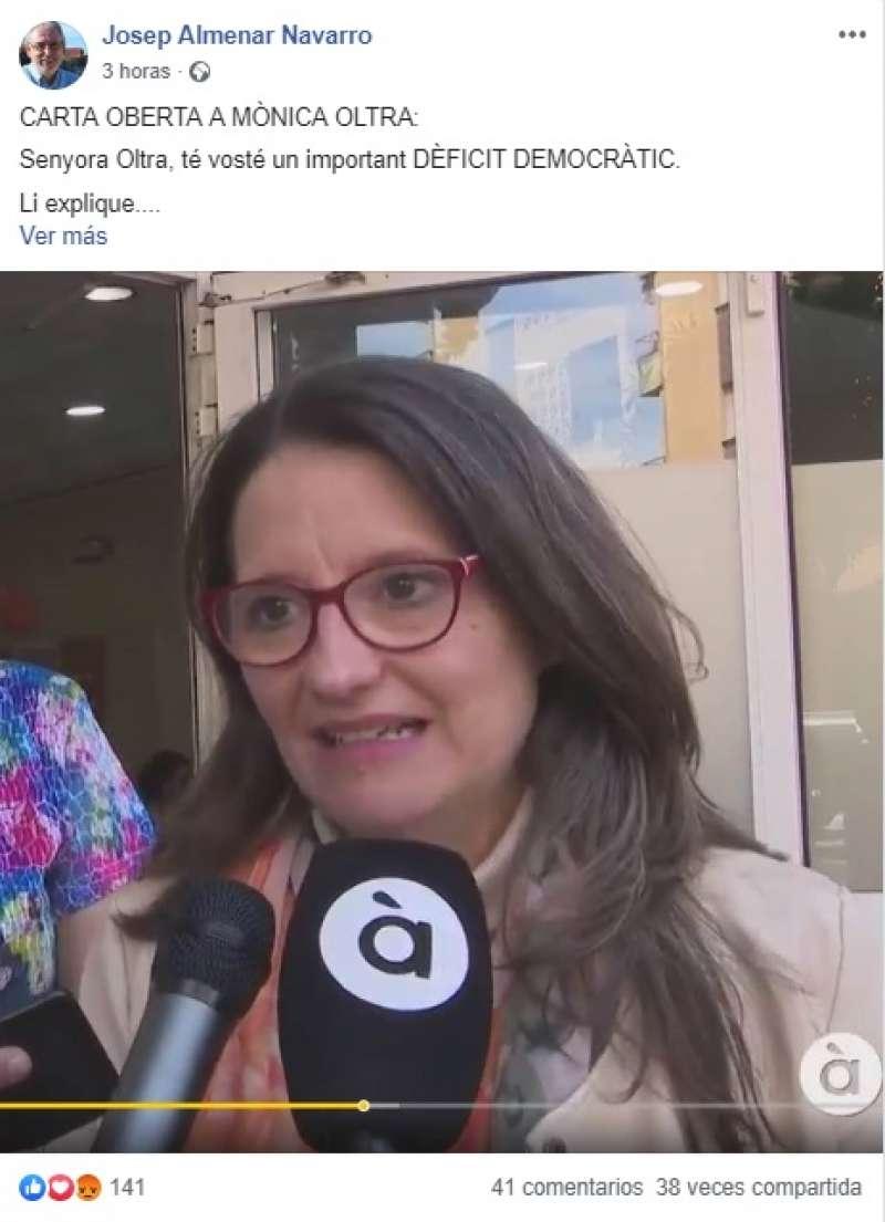 Carta Oberta a Mónica Oltra al Facebook de Almenar