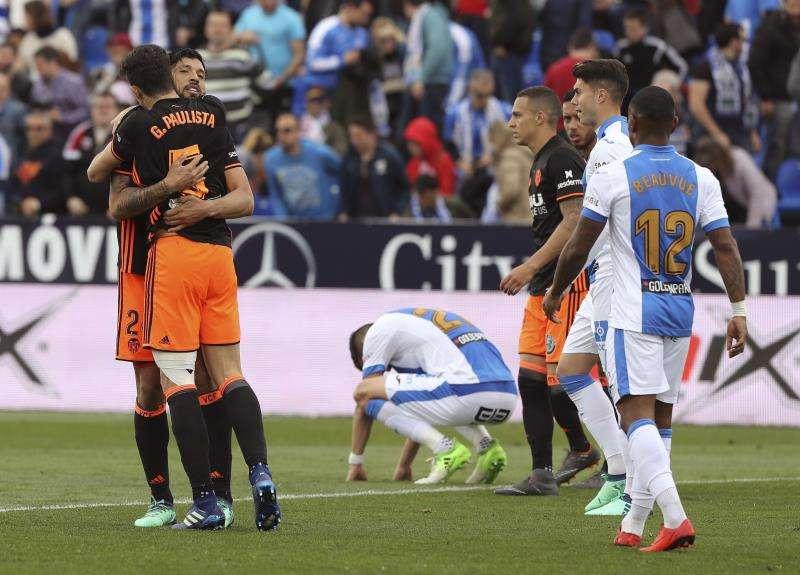 Los jugadores del Valencia celebran un gol ante el Leganés en un encuentro anterior. EFE/Archivo