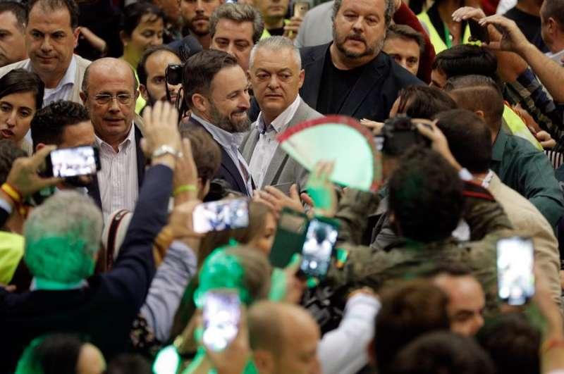 El líder de Vox, Santiago Abascal, a su llegada al acto electoral de la formación en Feria Valencia. EFE/Kai Försterling