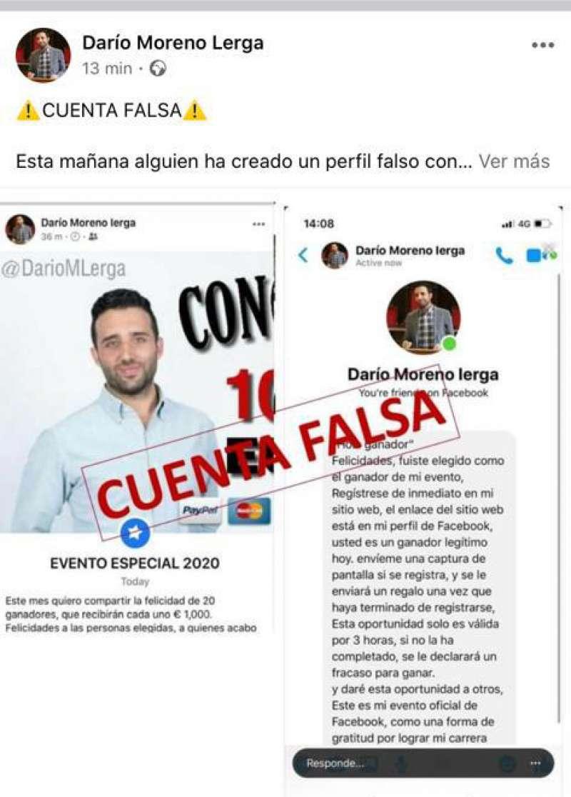 Publicación en la página de Darío Moreno en la que advierte de la cuenta falsa.